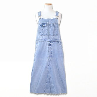 Denim salopette skirt middle length vintage remake overall all-in-one Lady's UKR526-H of one point
