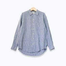 GHバス G.H. BASS ギンガムチェック柄 長袖オープンカラーシャツ メンズ Mサイズ相当 ブルー/ホワイト ユーズド 古着 s190801-7