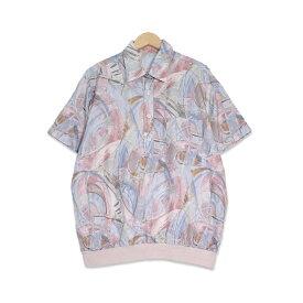 90年代 抽象柄 プルオーバー 半袖シャツ シルク メンズMサイズ ライトブルー/ピンク ユーズド 古着 t200518-106