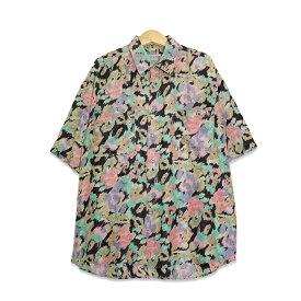90年代 エニーウェイ Anyway シルク 半袖シャツ メンズXLサイズ マルチカラーレオパード ユーズド 古着 t200518-107