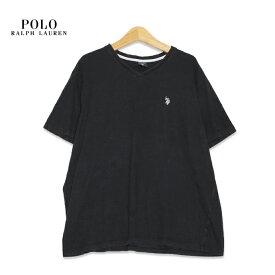 US・ポロ・アッスン US POLO ASSN. ロゴ刺繍 Vネック 半袖Tシャツ メンズXLサイズ ブラック ユーズド 古着 t200625-90