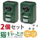 【送料無料】[2個セット] 害獣撃退「猫キャっと! - Neko Catto! -」 USB&太陽光 充電対応・電池交換不要のソーラー式【あす楽対応】