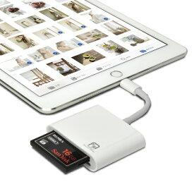 【送料無料】写楽 CFカメラリーダー iPhone・iPad Lightning端子用 3in1マルチアダプター「UDMA7」対応コンパクトフラッシュリーダー・RAWデータ・JPEG・MPEG-4・H.264取り込み