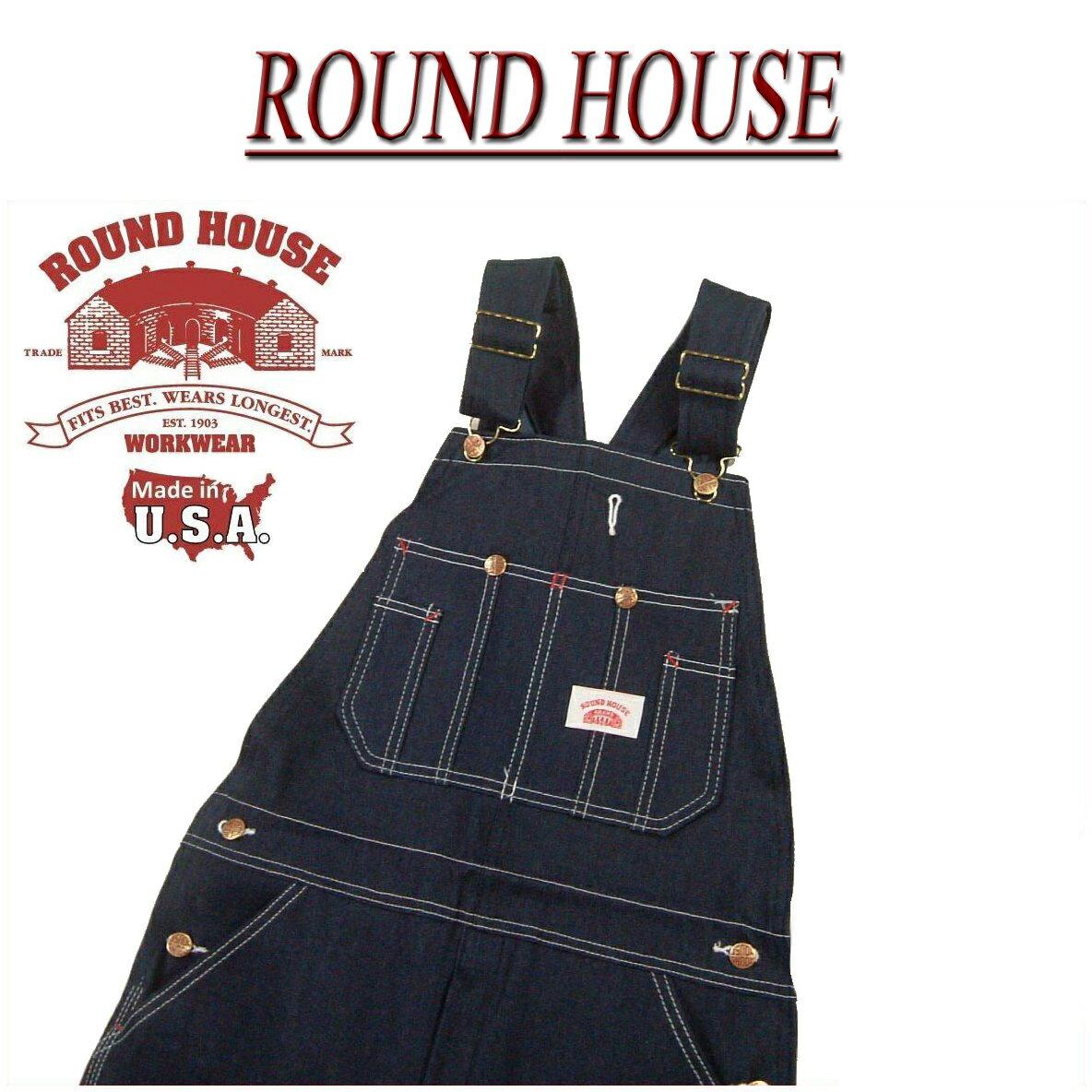【超定番 7サイズ】 af091 新品 ROUND HOUSE USA製 CLASSIC BLUE OVERALLS クラシックブルー デニム オーバーオール Lot980 メンズ ラウンドハウス アメカジ ワーク 【smtb-kd】 RoundHouse Made in USA