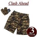 【3色3サイズ】 iy941 新品 Clash Ahead カモフラージュ 迷彩柄 コットン ショートパンツ メンズ ハーフパンツ ショーツ