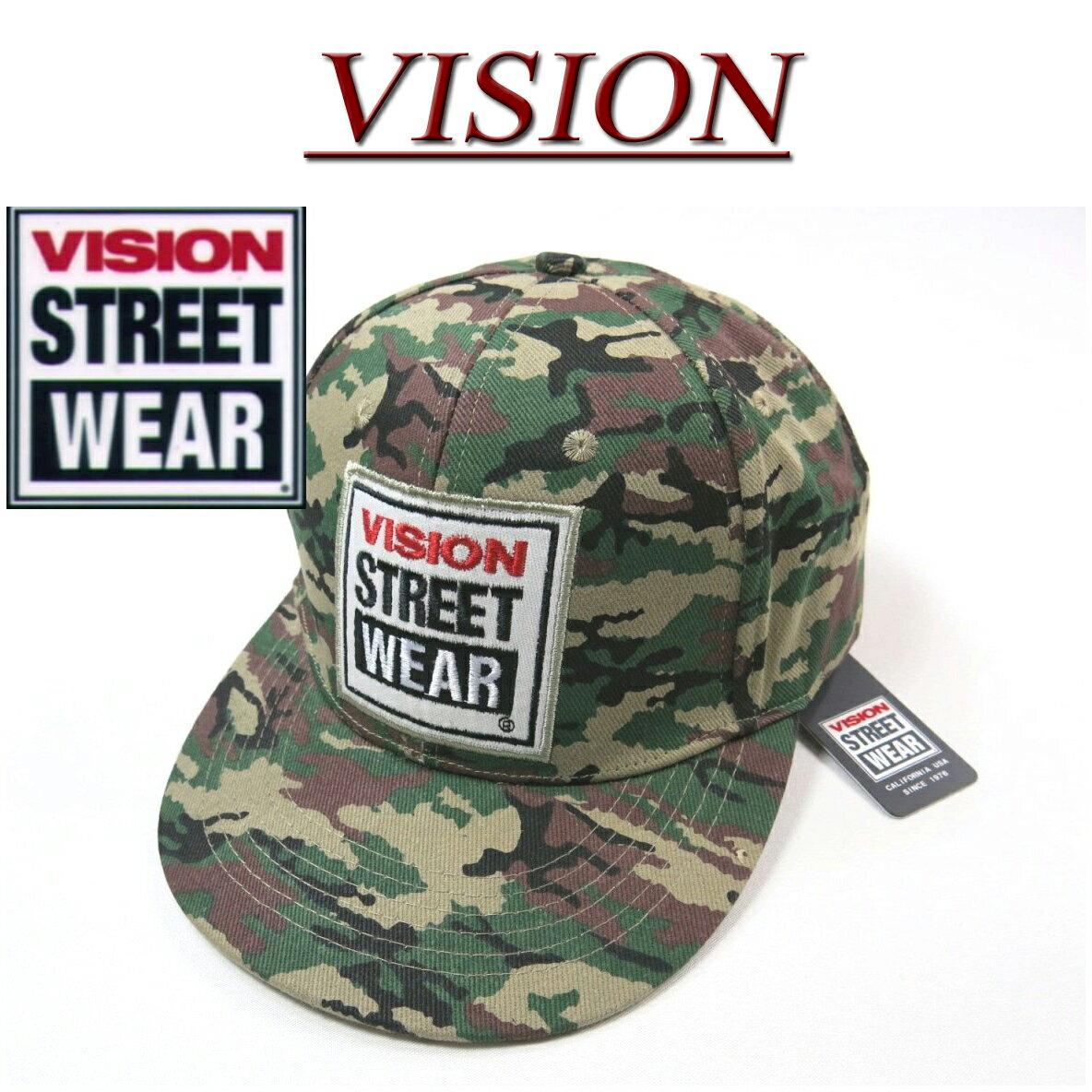 nx691 新品 VISION STREET WEAR カモフラージュ 迷彩柄 ツイル地 スナップバックキャップ 4410002 メンズ ヴィジョン ストリートウェア ビジョン ロゴ ワッペン付 帽子 アメカジ