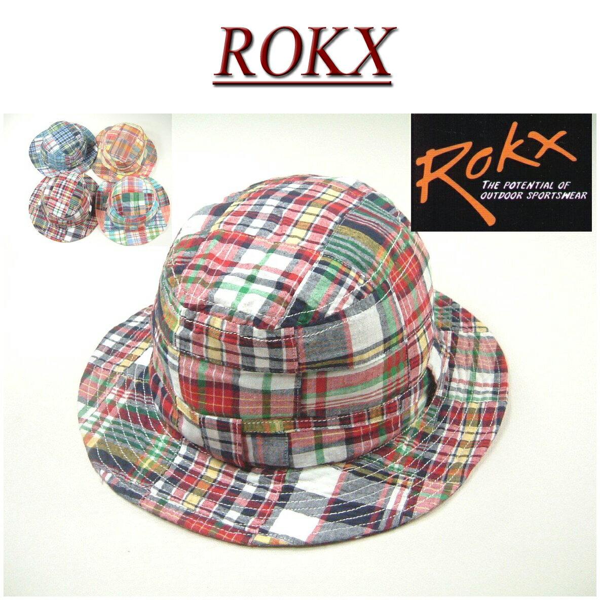 【4色】 rx611 新品 ROKX DAILY HAT ロックス パッチワーク マドラスチェック サファリハット rxh002 アメカジ アウトドア デイリーハット メンズ