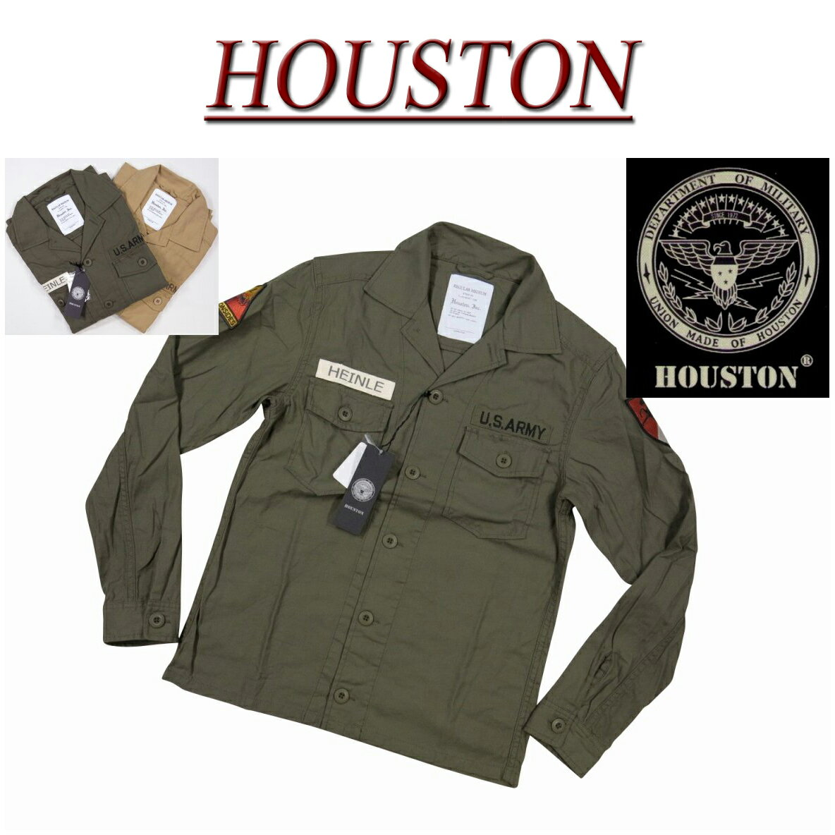 【2色3サイズ】 ja161 新品 HOUSTON U.S.ARMY ワッペン付 長袖 コットン ミリタリーシャツ 40150 メンズ ヒューストン WAPPEN MILITARY LS SHIRT ARMY ワークシャツ 軍シャツ アメカジ10P27May16