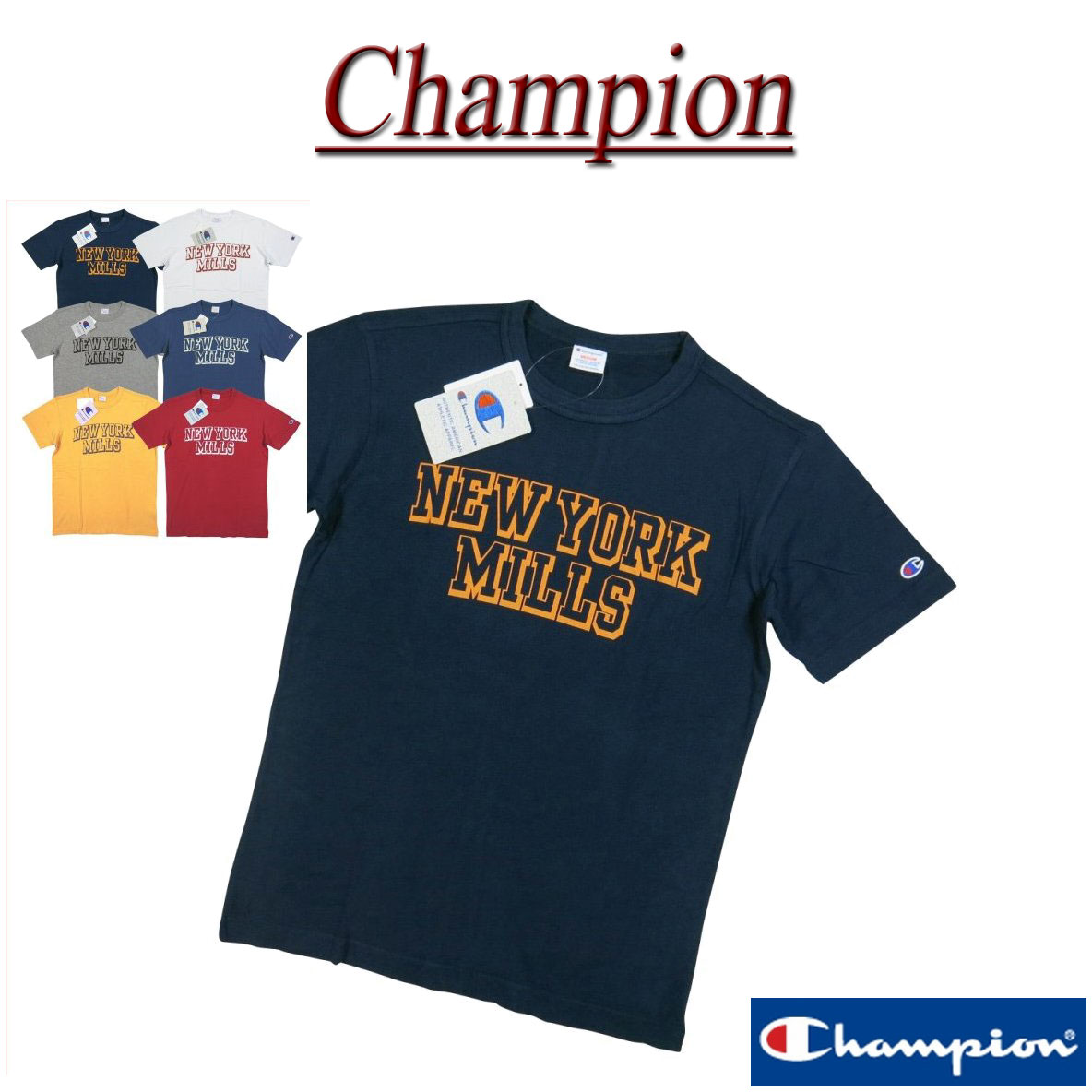 【6色3サイズ】 ja381 新品 Champion トリコロールタグ カレッジプリント 半袖 Tシャツ C3-H337 メンズ チャンピオン ラバープリント ティーシャツ アメカジ トリコタグ