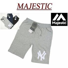 【30%off 3色3サイズ】 ja521 新品 MAJESTIC ニューヨーク ヤンキース フェルト地 ワッペン 裏毛 スウェット ショートパンツ MM12-NYK-0008 メンズ マジェスティック New York Yankees スウェットパンツ ショーツ ハーフパンツ