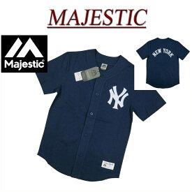 【3サイズ】 ja541 新品 MAJESTIC ニューヨーク ヤンキース ベースボールシャツ MM21-NYK-0008 メンズ マジェスティック MLB OFFICIAL WEAR NEW YORK YANKEES フェルト地 ワッペン 【smtb-kd】