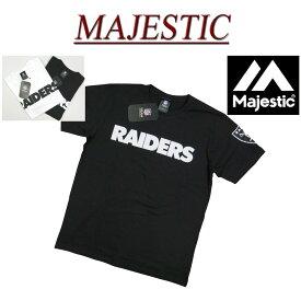 【2019春夏 2色5サイズ】 ja592 新品 MAJESTIC オークランド レイダース ロゴプリント 半袖 Tシャツ FM01-OLR-8S05 FM01-OLR-9S01 メンズ マジェスティック Oakland Raiders NFL OFFICIAL WEAR ティーシャツ