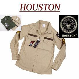 【40%off 2色3サイズ】 ja772 新品 HOUSTON U.S.ARMY 長袖 ワッペン付 コットン ミリタリーシャツ 40233 メンズ ヒューストン WAPPEN MILITARY L/S SHIRT ARMY ワークシャツ 軍シャツ