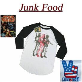 【US規格 5サイズ】 ab631 新品 JUNK FOOD USA産 スターウォーズ ボバフェット ラグランスリーブ 七分袖 Tシャツ S2945-7822 メンズ ジャンクフード BOBA FETT STAR WARS ティーシャツ JunkFood MADE IN USA 【smtb-kd】