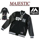 【2色5サイズ】 ib791 新品 MAJESTIC MLB ニューヨーク ヤンキース PUレザー × メルトンウール スタジャン NYK-0047 メンズ マジェスティック MLB OFFICIAL