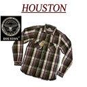 【3サイズ】 ja911 新品 HOUSTON マチ付 長袖 ビエラチェック ヘビーネルシャツ 40223B メンズ ヒューストン HEAVY FL…