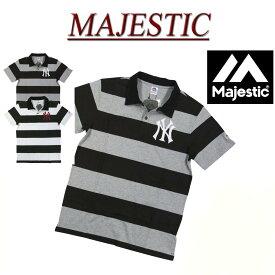 【2色3サイズ】 jb442 新品 MAJESTIC ニューヨーク ヤンキース ロゴ刺繍 半袖 ボーダー ポロシャツ MM04-NYK-0016 メンズ マジェスティック New York Yankees MLB OFFICIAL WEAR NY アメカジ
