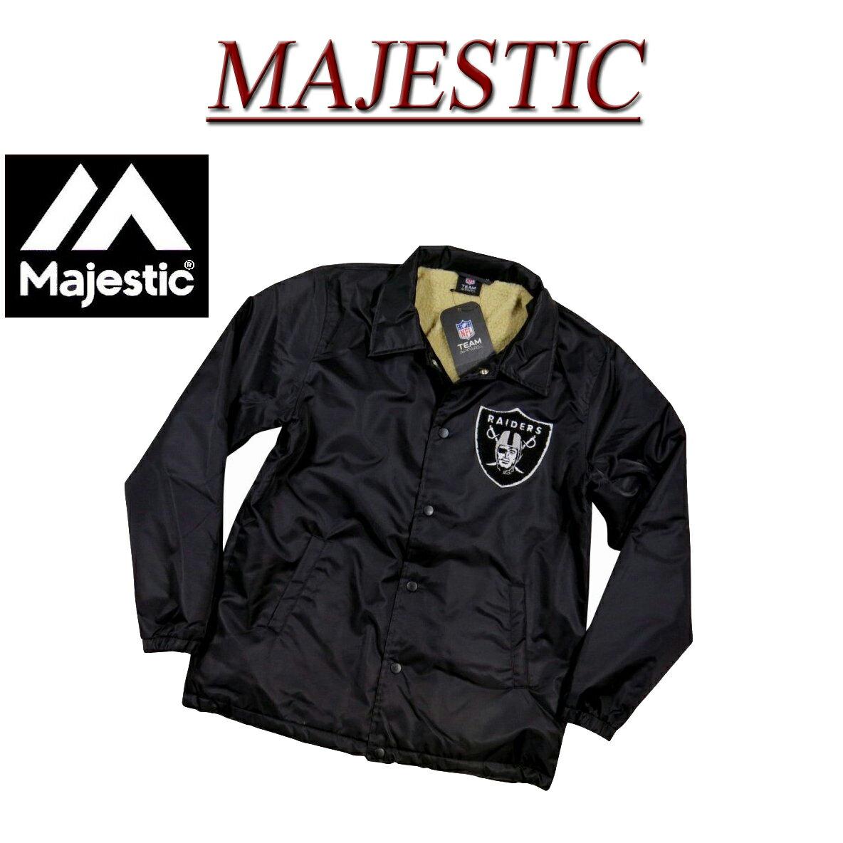 【2017秋冬 5サイズ】 jb971 新品 MAJESTIC オークランド レイダース さがら刺繍 裏ボア コーチジャケット FM23-OLR-7F02 メンズ マジェスティック Oakland Raiders NFL OFFICIAL WEAR ウインドブレーカー ナイロンジャケット