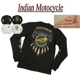 【2色5サイズ】 jc561 新品 INDIAN MOTOCYCLE ヘッドマーク フェザー刺繍 ロンT IMLT-806 メンズ 長袖 Tシャツ ロンティー インディアンモトサイクル IndianMotocycle 【smtb-kd】