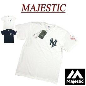 【6/25再入荷! 2019春夏 2色5サイズ】 jc841 新品 MAJESTIC 当店別注モデル! ニューヨーク ヤンキース ロゴプリント 半袖 Tシャツ MM01-NY-9S46 メンズ マジェスティック New York Yankees MLB OFFICIAL WEAR NY ティーシャツ