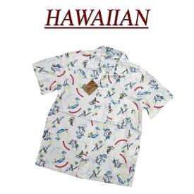 【2020春夏 7サイズ】 wu4427 新品 フラガール ビーチ柄 半袖 レーヨン100% アロハシャツ メンズ アロハ ハワイアンシャツ 【smtb-kd】 (ビッグサイズあります!)