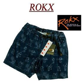 【4サイズ】 ry431 新品 ROKX × PEANUTS DENIM SHORT ピーナッツ スヌーピー コラボ アンティーク加工 デニム ショートパンツ クライミングパンツ RXMS193051 メンズ ロックス アメカジ ボルダリング ハーフパンツ ショーツ