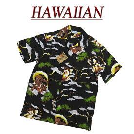 【7サイズ】 wu4811 新品 風神雷神 半袖 和柄 レーヨン100% アロハシャツ メンズ アロハ ハワイアンシャツ 【smtb-kd】 (ビッグサイズあります!)