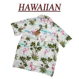 【2020春夏 7サイズ】 wu4814 新品 フラミンゴ 半袖 レーヨン100% アロハシャツ メンズ アロハ ハワイアンシャツ 【smtb-kd】 (ビッグサイズあります!)