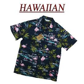 【2020春夏 7サイズ】 wu4815 新品 フラミンゴ 半袖 レーヨン100% アロハシャツ メンズ アロハ ハワイアンシャツ 【smtb-kd】 (ビッグサイズあります!)