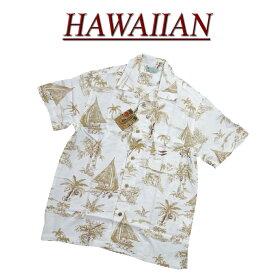 【2020春夏 7サイズ】 wu486 新品 ビーチ柄 半袖 レーヨン100% アロハシャツ メンズ アロハ ハワイアンシャツ 【smtb-kd】 (ビッグサイズあります!)