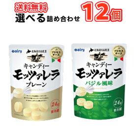 南日本酪農協同 デーリィ 選べる 北海道日高 キャンディーモッツァレラ バジル/モッツァレラ 24g×12袋/2種類から選べる1セットクール便 送料無料