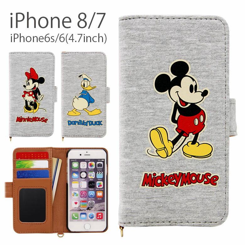 ディズニー iPhone8 iPhone7 手帳型 スマホケース 4.7インチモデル対応 スウェット メンズ レディース アイフォン8 ダイアリー iPhone6s カバー ジャケット ミラー カードポケット付き ミッキー ミニー ドナルド カジュアル シンプル グレー グルマンディーズ