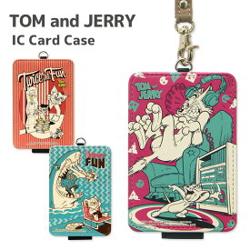 トムアンドジェリー ICカードケース パスケース 定期入れ ストラップ付き レトロ キャラクター グッズ 雑貨 ヴィンテージ かわいい オシャレ 可愛い 通勤 通学 ICカード入れ icカード ケース パス