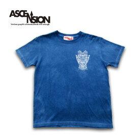 ASCENSION(アセンション)藍染め・曼荼羅 TEE「HAND & SATORI」メンズ(mens)・レディース(ladys)・Tシャツ(T-shirt)・ライジングサン・アウトドア(outdoor)・野外フェス・グラフィック as-720