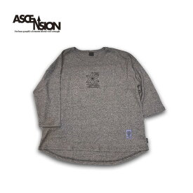 ASCENSION(アセンション)GOHEMP ROUND LOOSE TEE HEAVY JERSEY ON ASCENSION 「Ancient fish」 メンズ・レディース・加工・プリント・ロングTシャツ・オーガニックコットン as-729