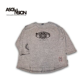 ASCENSION(アセンション)GOHEMP ROUND LOOSE TEE / HEAVY JERSEY ON ASCENSION 「Open your eyes」 メンズ・レディース・加工・プリント・ロングTシャツ・オーガニックコットン as-730