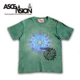 ASCENSION(アセンション)曼荼羅 タイダイ TEEシャツ[Ammonite/Draw The Yen] メンズ(mens)・Tシャツ(T-shirt) アウトドア(outdoor)・野外フェス・タイダイ・TIE-DYE as-647