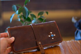 BLUE.art(ブルードットアート)Natural leather long wallet〜Turquoise Studs〜 [Horween chromexcel leather]ホーウィン社のクロムエクセルレザー ba-039