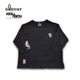 GOHEMP WIDE FOOTBALL TEE / ON ASCENSION  ゴーヘンプ フットボールTシャツ メンズ・レディース・ナチュラル・加工・プリント gh-078