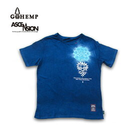 GOHEMP(ゴーヘンプ)HEMP BASIC TEE (GO HEMP ボディー仕様)ASCENSION(アセンション) Indigo(藍染め)× 曼荼羅Tiedye メンズ・レディース・ナチュラル・加工・プリント gh-081