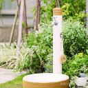【立水栓 水栓柱】ナチュラルなデザイン立水栓「アルブラン (水栓柱+ガーデンパン+蛇口2個セット)」お庭をスタイルを選ばないシンプルなカタチです【立水栓セット】...