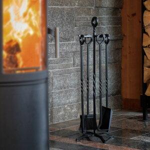 【暖炉薪ツール】【総鉄製】【薪ストーブ】「ファイヤーサイド オールアイアン 4点セット」