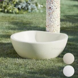水受け水栓柱用ガーデンパン「トレビ リビエラ」【送料無料】 シンプル アイボリーカラー 水鉢