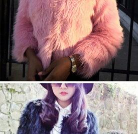 ふわふわフェイクファーショート丈 カラージャケット 黒、白、赤、紫、ピンク、ブルー、ベビーピンク ダンス衣装にも