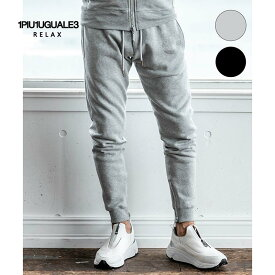 1PIU1UGUALE3 RELAX ウノピゥウノウグァーレトレ リラックス ラインストーン 3 ロゴ ジョガーパンツ 黒 グレー メンズ