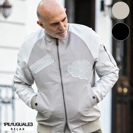 1PIU1UGUALE3 RELAX ウノピゥウノウグァーレトレ リラックス ワッペンデザインレザー ボンバージャケット メンズ ジャケット アウター