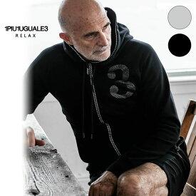 1PIU1UGUALE3 RELAX ウノピゥウノウグァーレトレ リラックス ラインストーン 3 ロゴ パーカー 黒 グレー メンズ
