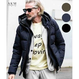 AKM Contemporary エイケイエム コンテンポラリー スタンドネック レイヤード ダウンジャケット ブランド カーキ 紺 黒 メンズ スワロフスキークリスタル カモフラージュ