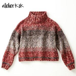 アトリエK'sK岡本啓子棒針編み手編みキットニット3色使いのプルオーバー