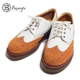 BajoLugo バジョルゴ おとこのブランドHEROES 掲載 ウィングチップ シューズ スニーカー ホワイト オレンジ MENS メンズ 送料無料